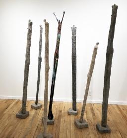 Totem/Bones (cement) and Stick Figure, Twig Arms (Papier macho)